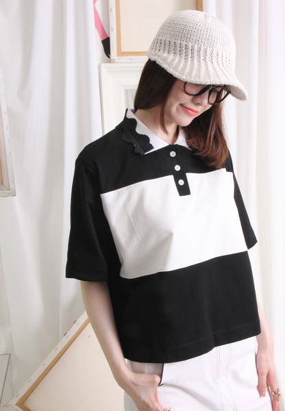 (Korean) Color Blocking Pleated Polo Collar Top – Black