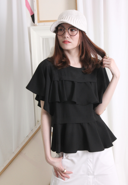 (Korean) Frill Layered Butterfly Sleeves Top – Black
