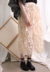 (Korean) Fringing Trims Mesh Layer Skirt – Beige