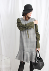 (Korean) Shirt Sleeves Frill Hem Tartan Dress