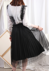 (Korean) Lace Strap Pleated Mesh Layer Skirt – Black