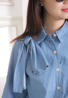 Side Knot Denim Blouse