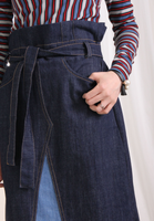 Contrast Stitch High Waist Denim Skirt