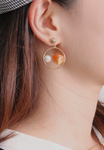 Artificial Stone & Pearl Earrings
