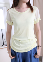 Mixed Fabric Top with Organza Sleeves (5 colours)
