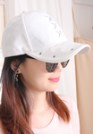 White Pattern Metal Eyes Cap