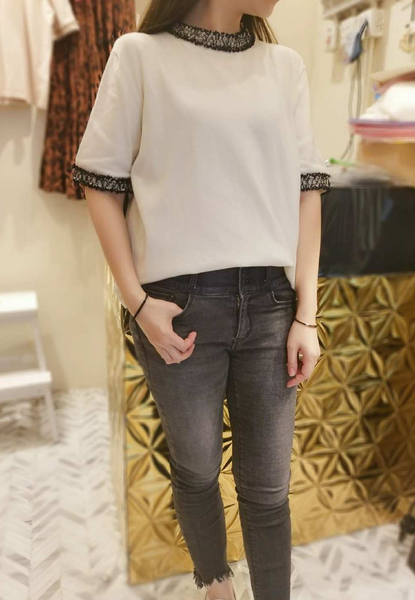 Trimmed Knit Top (3 colours) (pre order)