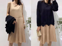 Pleated Dress with Knit Top Set (2 colours) (pre order)