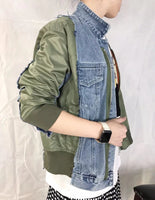 Mixed Fabric Demin Jacket (pre order)
