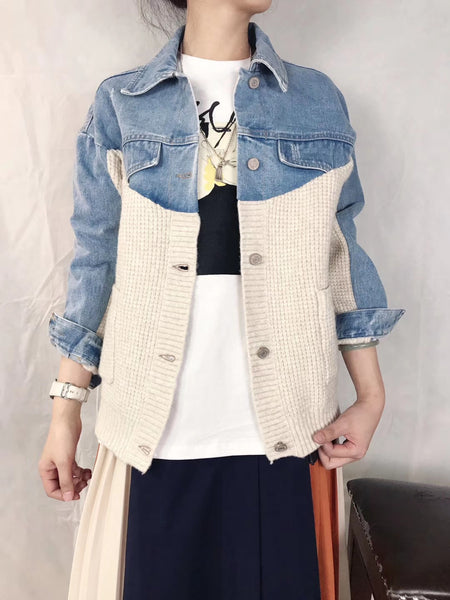 Mixed Denim Knit Jacket (pre order)