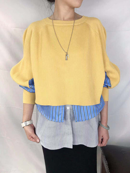 Mixed Fabric Layered Top (3 colours) (pre order)