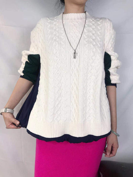 Mixed Fabric Knit Top (pre order)