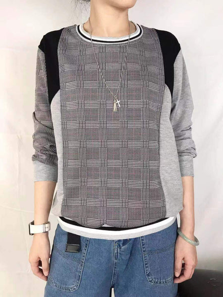 Mixed Fabric Checkered Top (pre order)