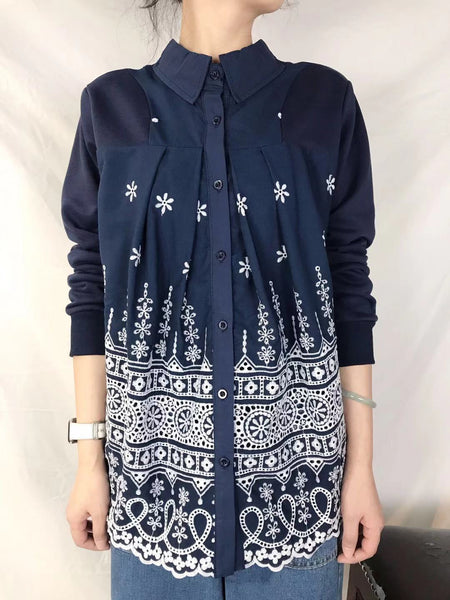 Mixed Embroidered Shirt Sweatshirt (2 colours) (pre order)