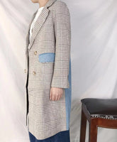 Checkered Mixed Demin Trench Coat (pre order)
