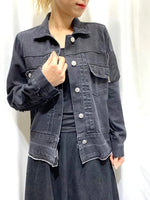 Mixed Fabric Denim Jacket (2 colours) (pre order)