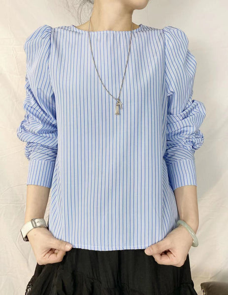 Puff Sleeves Striped Top (pre order)