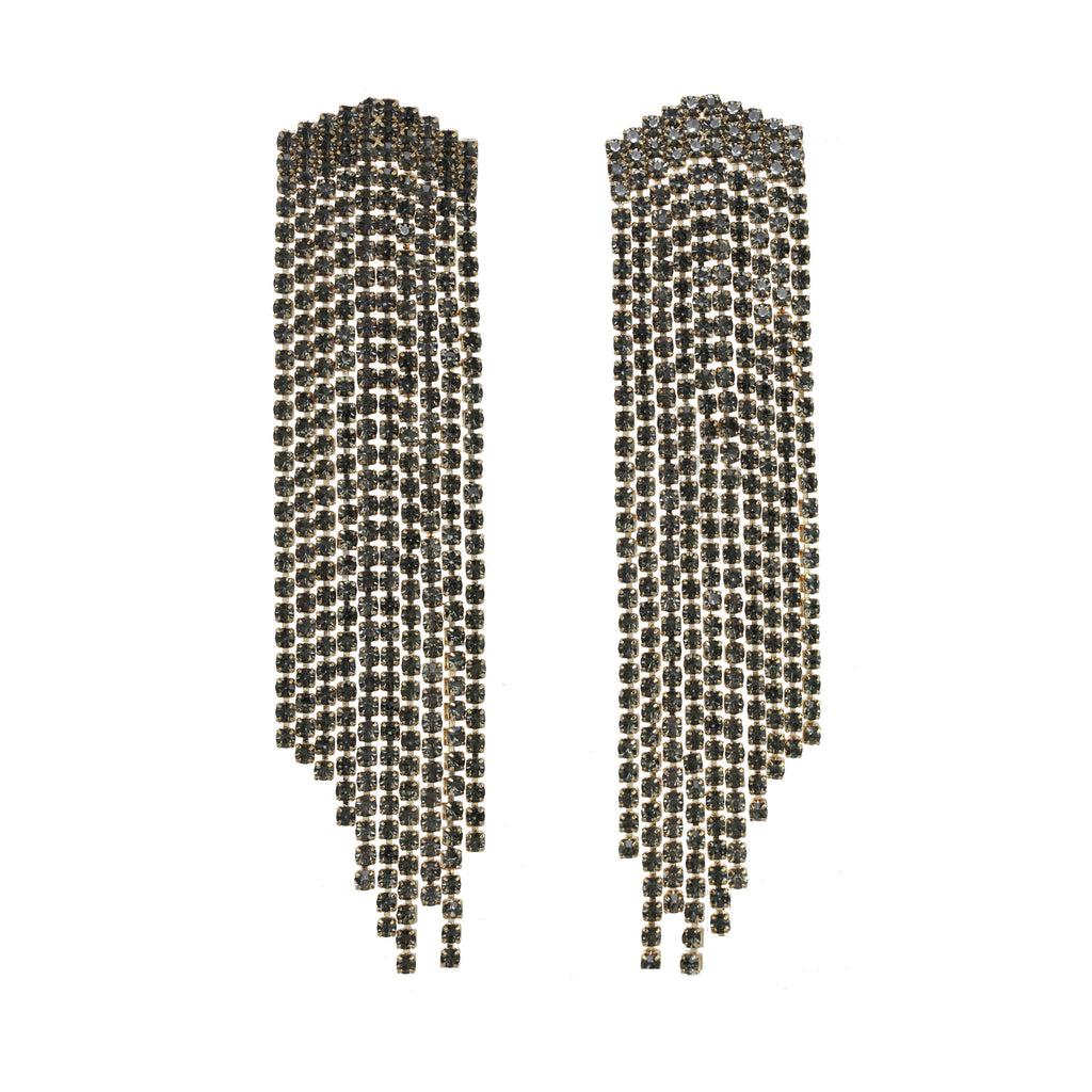 Monroe Crystal Fringe Earring Black Diamond