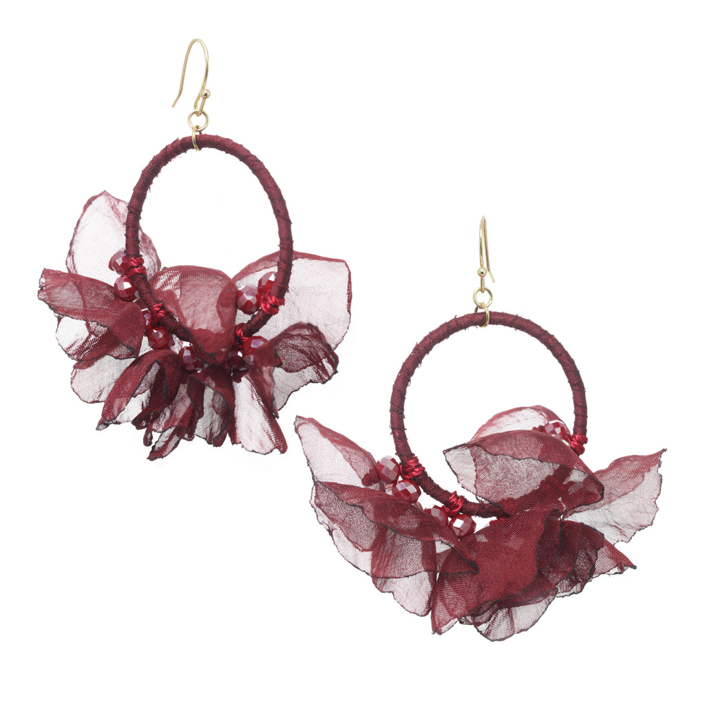 Melody Chiffon Earring Wine
