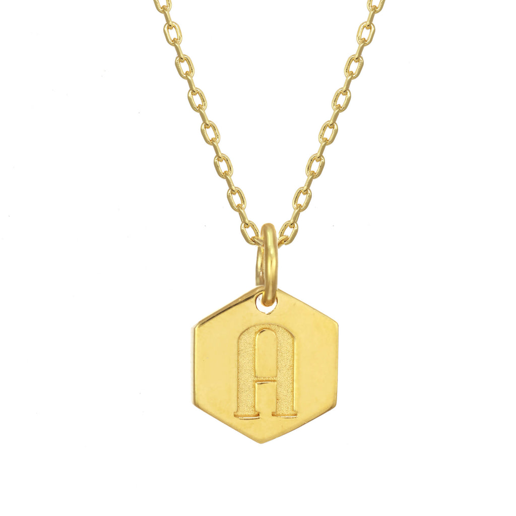 Monogram Initial Necklace Gold