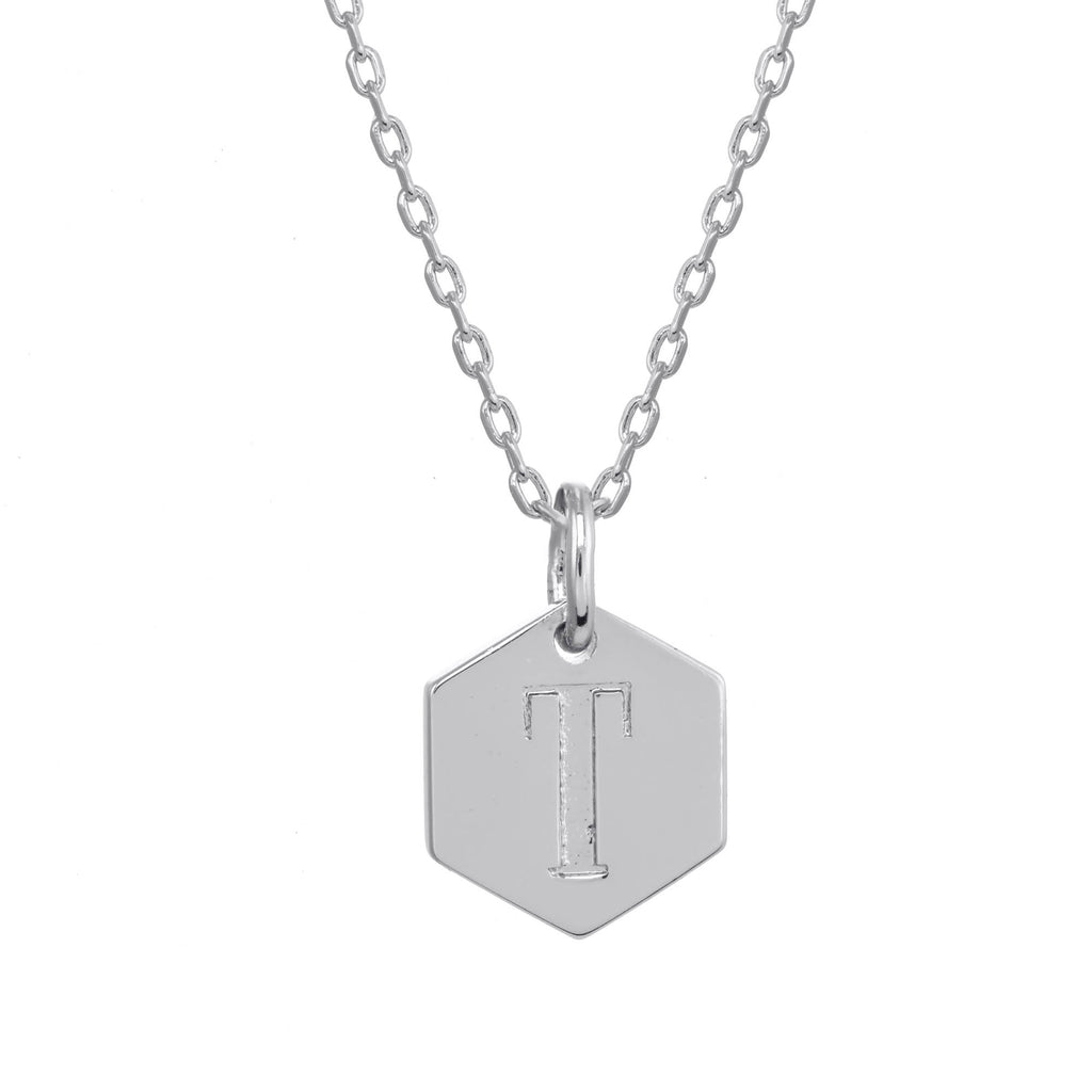 Monogram Initial Necklace Silver