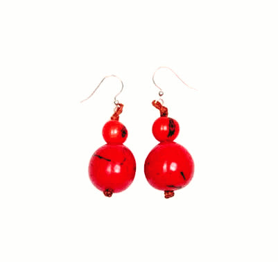 Red Handcrafted Seed/Berry 100% Organic Earrings