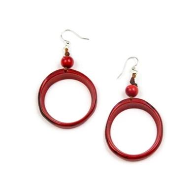 Red Ring of Life Tagua Earrings