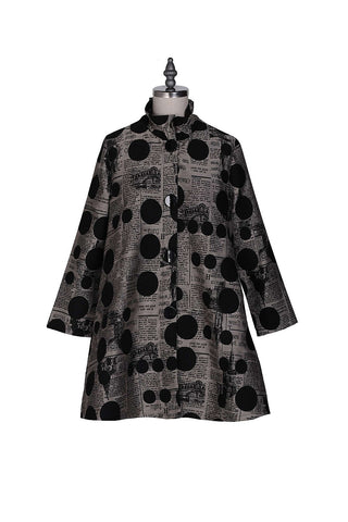 Newspaper/Polka Dotted Jacket W/Black Buttons