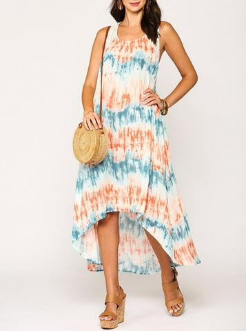 Over-Sized Tye Dye High Low Maxi Dress