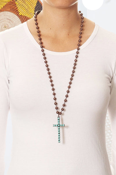Rustic beads necklace with cross pendant.