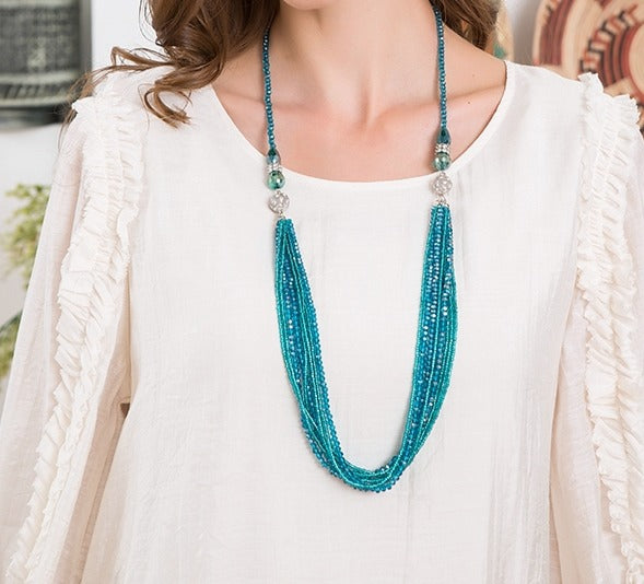 Magnetic Multi-layered Necklace w/Center Closure