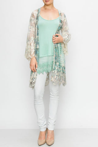 Embroidered  3/4 Sleeve Lace Duster