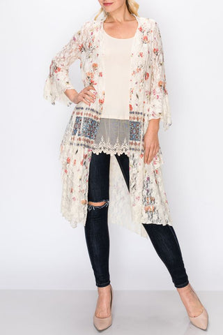Cream Mix 3/4 Sleeve Lace Duster