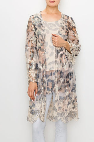 Leopard Print 3/4 Sleeve Lace Duster