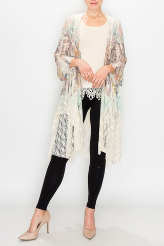 Mint Mix Mix 3/4 Sleeve Lace Duster