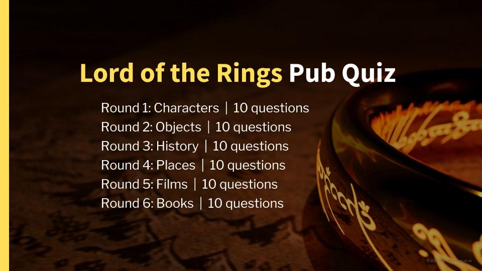 Lord of the Rings Pub Quiz