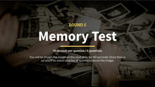 Load image into Gallery viewer, Memory Test Pub Quiz Questions