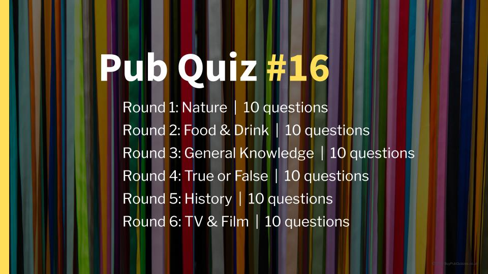 Ready-Made Pub Quiz #16