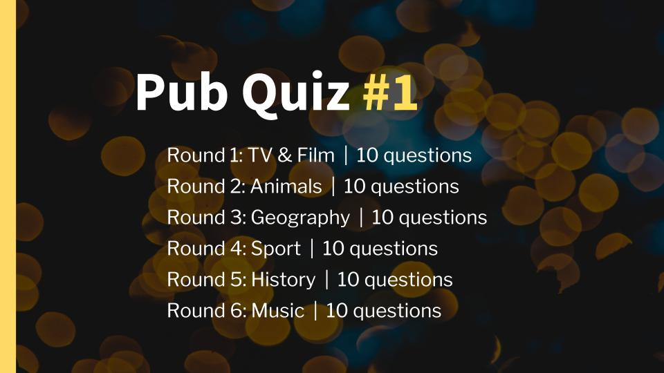 Pub Quiz 1 Overview Slide