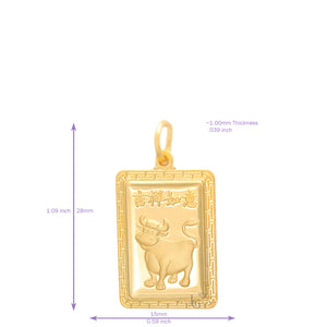 24K Small Rectangle Ox Pendant