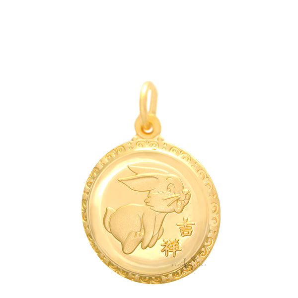 24K Medium Round Rabbit Pendant
