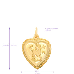 24K Small Heart Horse Pendant