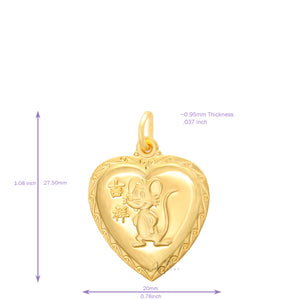 24K Small Heart Rat Pendant