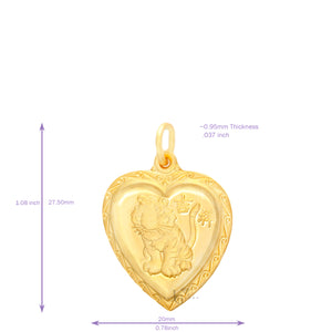 24K Small Heart Tiger Pendant