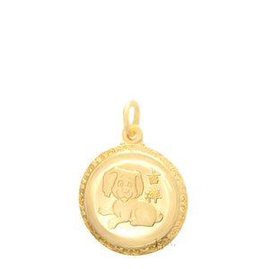 24K Small Round  Dog Pendant