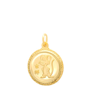 24K Small Round Rat Pendant