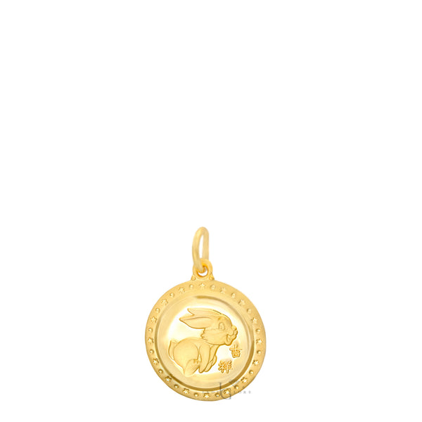 24K Mini Round Rabbit Pendant