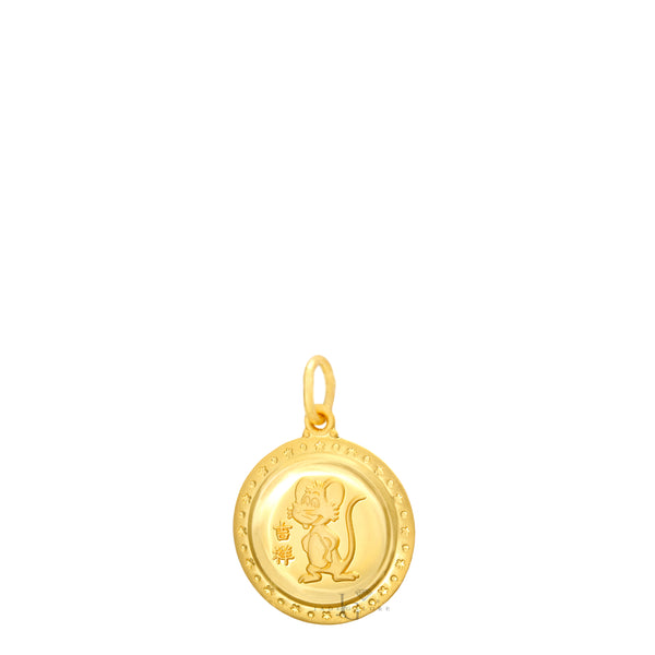 24K Mini Round Rat Pendant