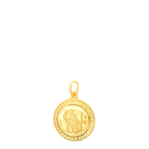 24K Mini Round Tiger Pendant