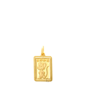 24K Mini Rectangle Rat Pendant